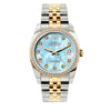 Rolex Datejust Diamond Watch, 36mm, Yellow Gold and Stainless Steel Bracelet Blue Mother of Pearl Dial w/ Diamond Bezel