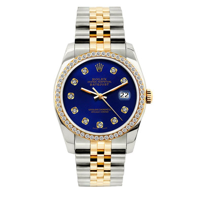 Rolex Datejust Diamond Watch, 36mm, Yellow Gold and Stainless Steel Bracelet Royal Blue Dial w/ Diamond Bezel