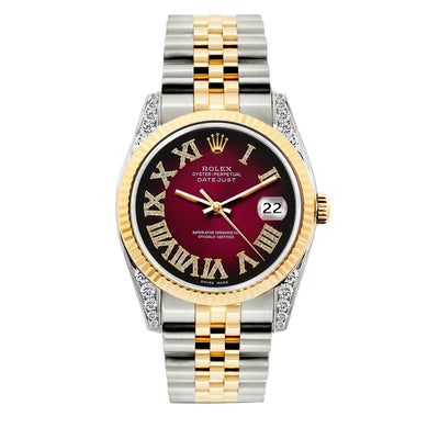 Rolex Datejust Diamond Watch, 36mm, Yellow Gold and Stainless Steel Bracelet Red Black Dial w/ Diamond Lugs