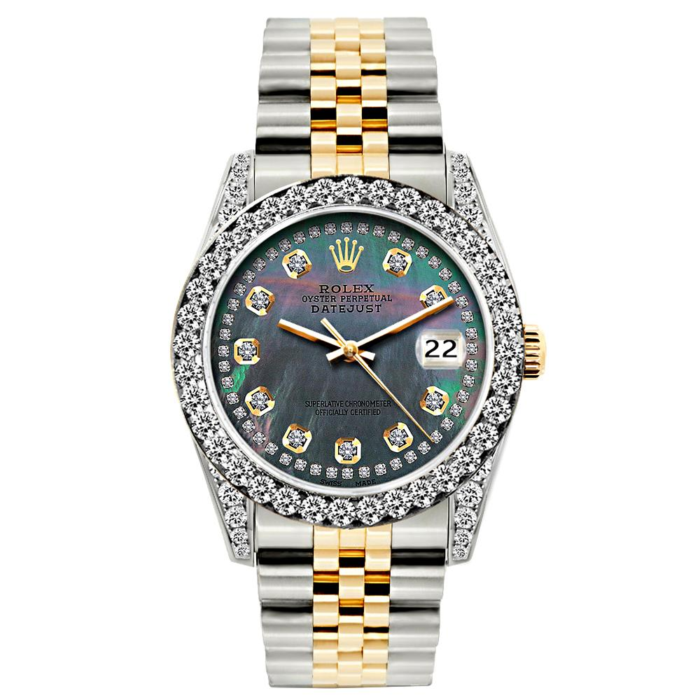 Rolex Datejust Diamond Watch, 26mm, Yellow Gold and Stainless Steel Bracelet Black Mother Of Pearl Dial w/ Diamond Bezel and Lugs