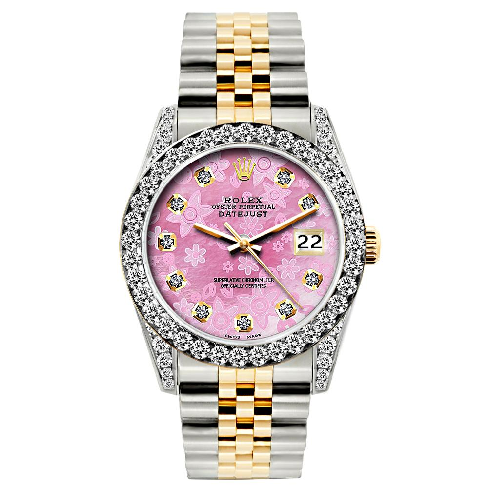 Rolex Datejust Diamond Watch, 26mm, Yellow Gold and Stainless Steel Bracelet Pink Flower Dial w/ Diamond Bezel and Lugs