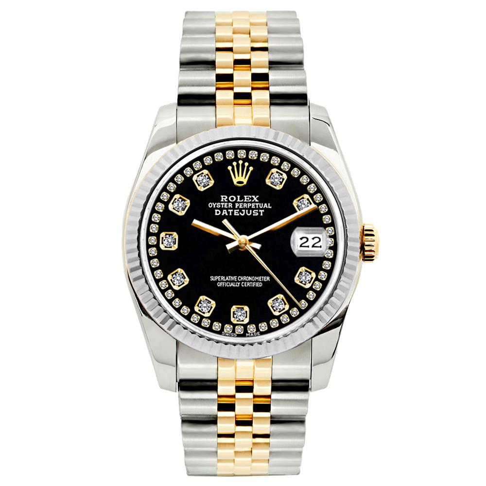 Rolex Datejust 26mm Yellow Gold and Stainless Steel Bracelet Black Border Dial