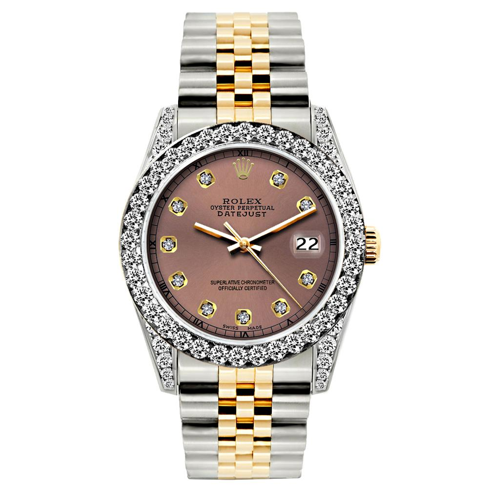 Rolex Datejust Diamond Watch, 26mm, Yellow Gold and Stainless Steel Bracelet Earthen Dial w/ Diamond Bezel and Lugs