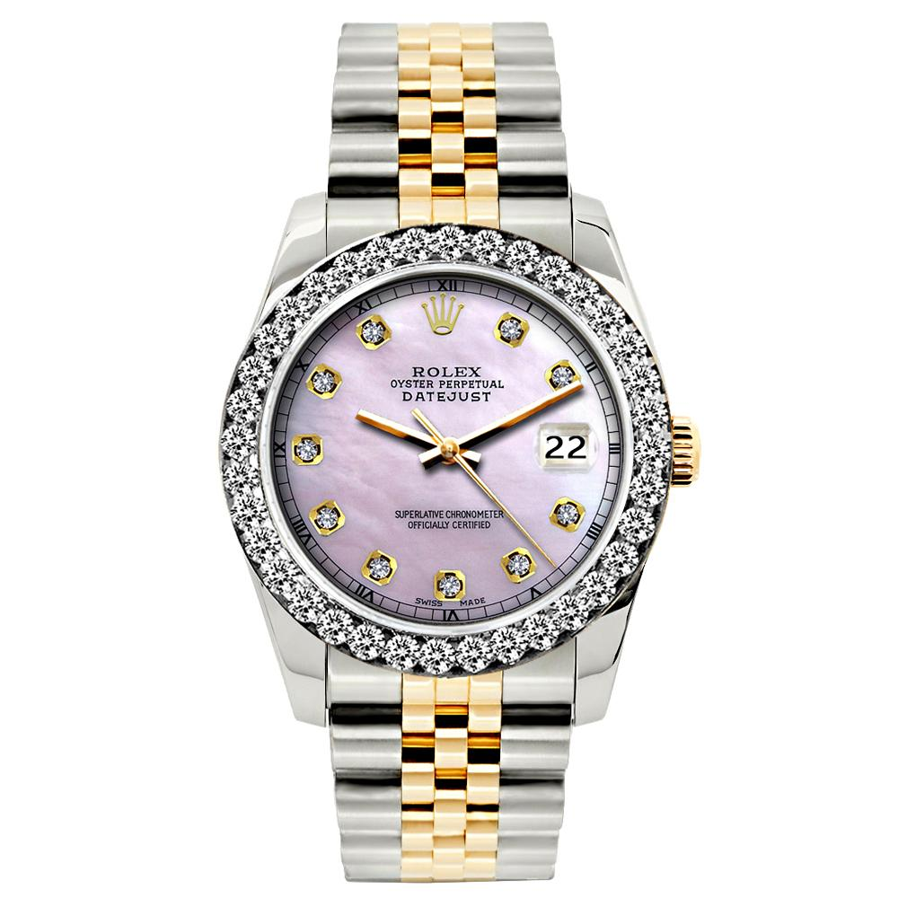 Rolex Datejust Diamond Watch, 26mm, Yellow Gold and Stainless Steel Bracelet Lavender Dial w/ Diamond Bezel