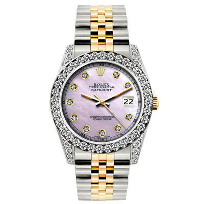 Rolex Datejust Diamond Watch, 26mm, Yellow Gold and Stainless Steel Bracelet Lavender Dial w/ Diamond Bezel and Lugs
