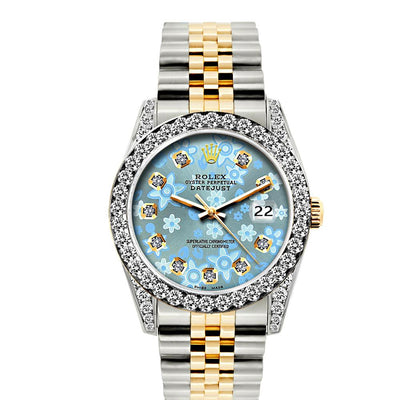 Rolex Datejust Diamond Watch, 26mm, Yellow Gold and Stainless Steel Bracelet Ice Blue Flower Dial w/ Diamond Bezel and Lugs