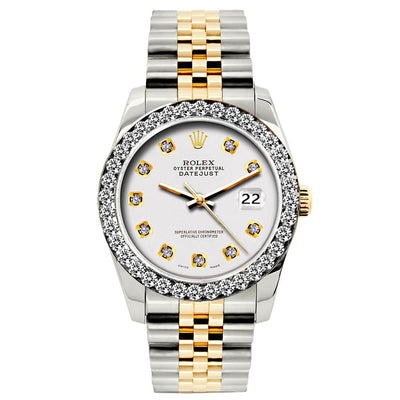 Rolex Datejust Diamond Watch, 26mm, Yellow Gold and Stainless Steel Bracelet White Dial w/ Diamond Bezel