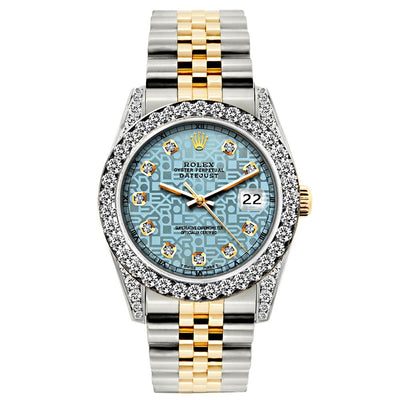 Rolex Datejust Diamond Watch, 26mm, Yellow Gold and Stainless Steel Bracelet Blue Rolex Dial w/ Diamond Bezel and Lugs