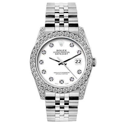 Rolex Datejust Diamond Watch, 26mm, Stainless SteelBracelet White Dial w/ Diamond Bezel and Lugs