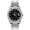 Rolex Datejust 26mm Stainless Steel Bracelet Jet Black Dial w/ Diamond Bezel and Lugs