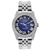 Rolex Datejust 26mm Stainless Steel Bracelet Roman Blue Dial w/ Diamond Bezel and Lugs