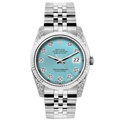 Rolex Datejust Diamond Watch, 26mm, Stainless SteelBracelet Blue Rays Dial w/ Diamond Lugs