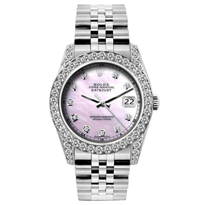 Rolex Datejust Diamond Watch, 26mm, Stainless SteelBracelet Pink Mother of Pearl Dial w/ Diamond Bezel and Lugs