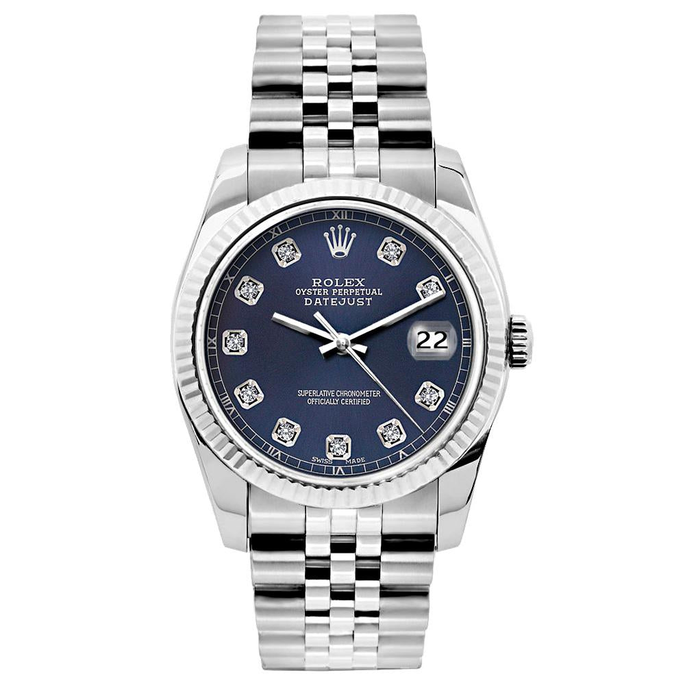 Rolex Datejust 26mm Stainless Steel Bracelet  Navy Blue Dial