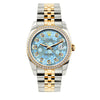 Rolex Datejust 36mm Yellow Gold and Stainless Steel Bracelet Blue Flower Dial w/ Diamond Bezel