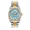 Rolex Datejust Diamond Watch, 36mm, Yellow Gold and Stainless Steel Bracelet Blue Flower Dial w/ Diamond Bezel and Lugs