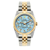 Rolex Datejust 36mm Yellow Gold and Stainless Steel Bracelet Blue Flower Dial w/ Diamond Lugs