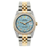 Rolex Datejust Diamond Watch, 36mm, Yellow Gold and Stainless Steel Bracelet Blue Rolex Dial w/ Diamond Bezel and Lugs