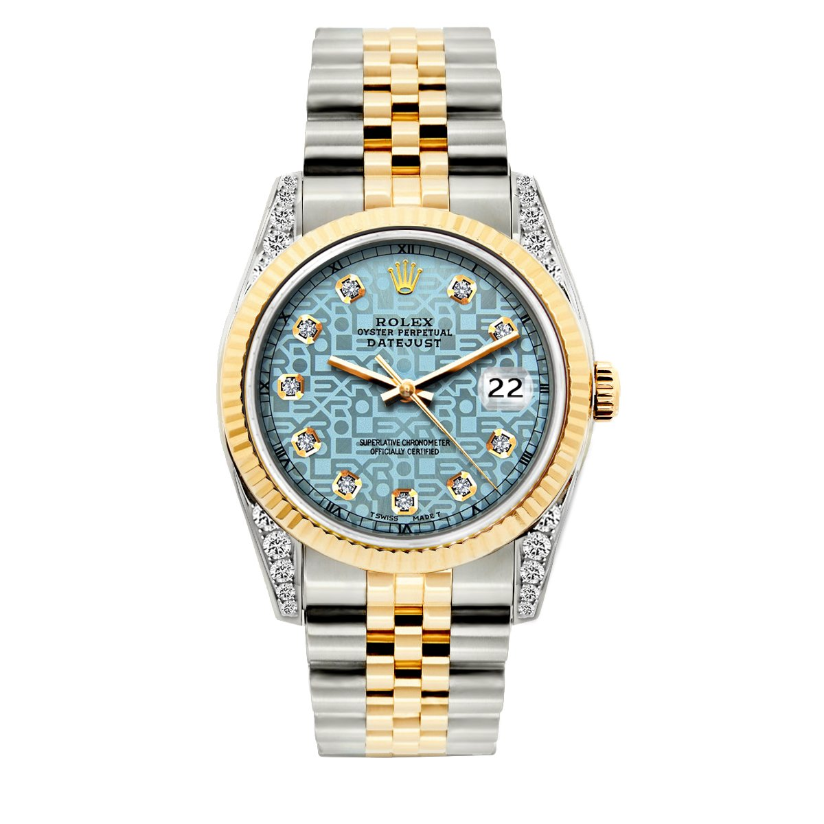 Rolex Datejust Diamond Watch, 36mm, Yellow Gold and Stainless Steel Bracelet Blue Rolex Dial w/ Diamond Lugs