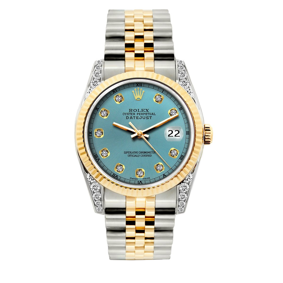 Rolex Datejust Diamond Watch, 36mm, Yellow Gold and Stainless Steel Bracelet Ice Blue Dial w/ Diamond Lugs