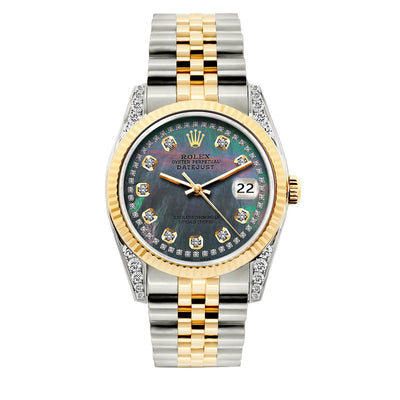 Rolex Datejust Diamond Watch, 36mm, Yellow Gold and Stainless Steel Bracelet Mother of Pearl Dial w/ Diamond Lugs