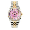 Rolex Datejust Diamond Watch, 36mm, Yellow Gold and Stainless Steel Bracelet Pink Flower Dial w/ Diamond Bezel