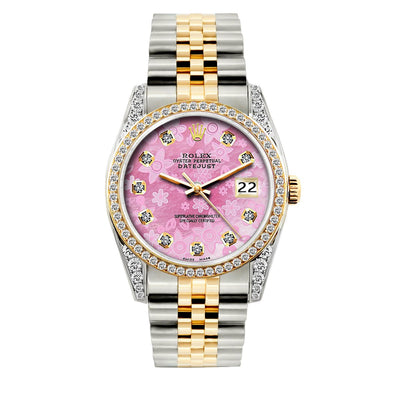 Rolex Datejust Diamond Watch, 36mm, Yellow Gold and Stainless Steel Bracelet Pink Flower Dial w/ Diamond Bezel and Lugs