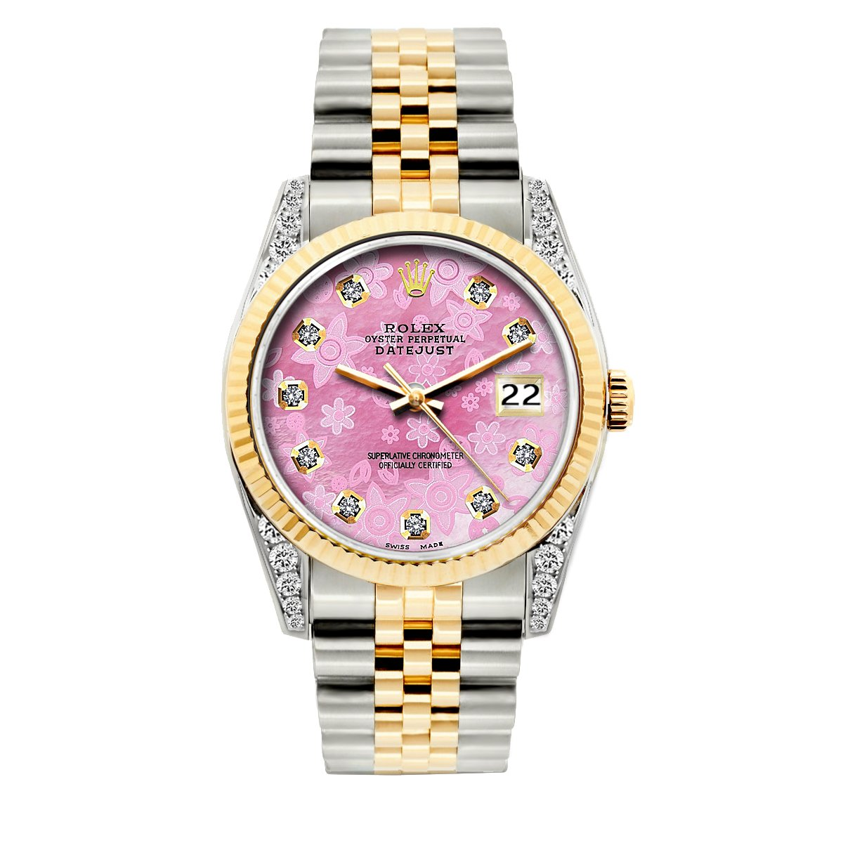 Rolex Datejust Diamond Watch, 36mm, Yellow Gold and Stainless Steel Bracelet Pink Flower Dial w/ Diamond Lugs