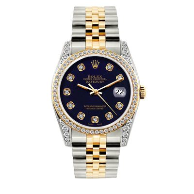 Rolex Datejust Diamond Watch, 36mm, Yellow Gold and Stainless Steel Bracelet Purple Dial w/ Diamond Bezel and Lugs