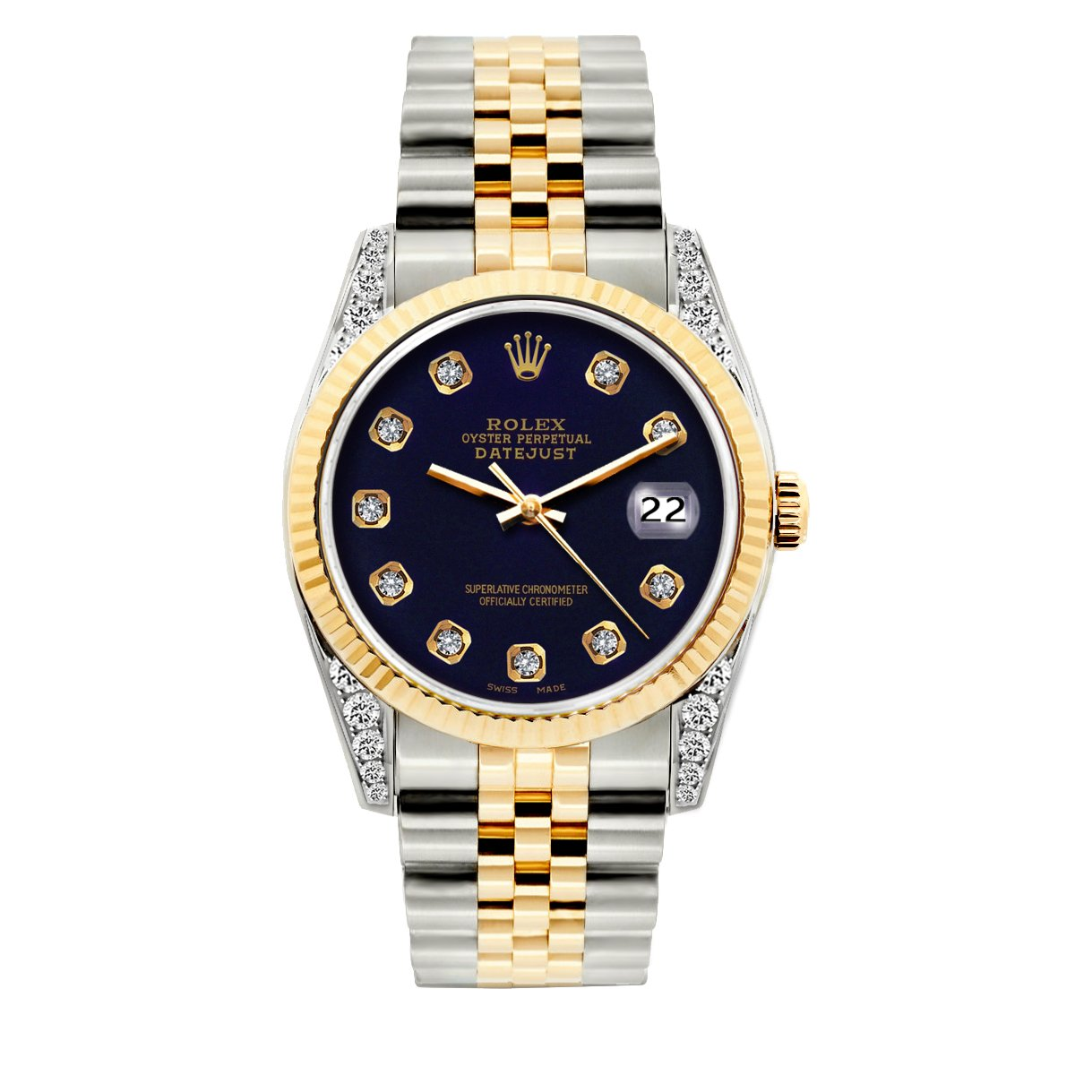 Rolex Datejust Diamond Watch, 36mm, Yellow Gold and Stainless Steel Bracelet Purple Dial w/ Diamond Lugs