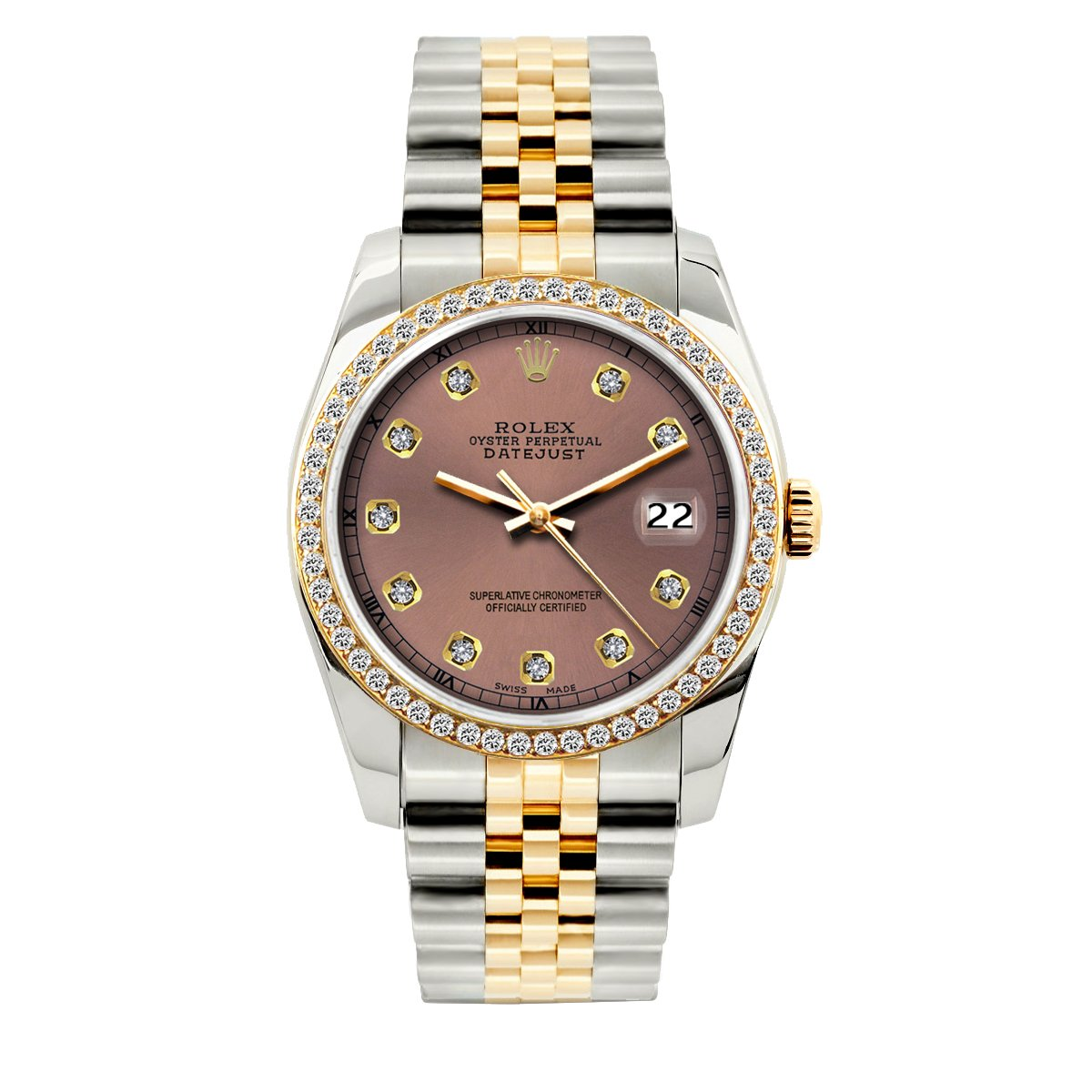 Rolex Datejust Diamond Watch, 36mm, Yellow Gold and Stainless Steel Bracelet Earthen Dial w/ Diamond Bezel