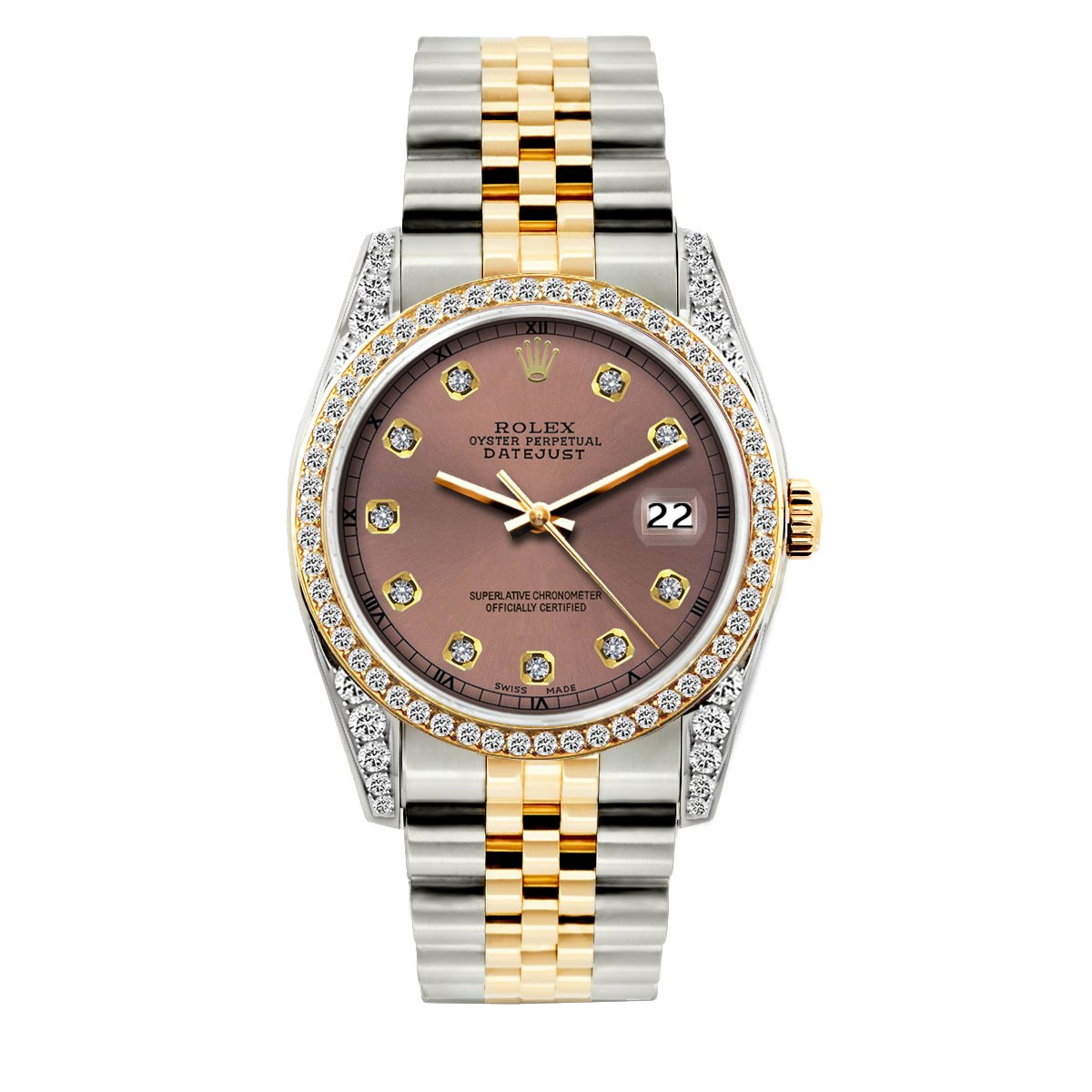 Rolex Datejust Diamond Watch, 36mm, Yellow Gold and Stainless Steel Bracelet Earthen Dial w/ Diamond Bezel and Lugs