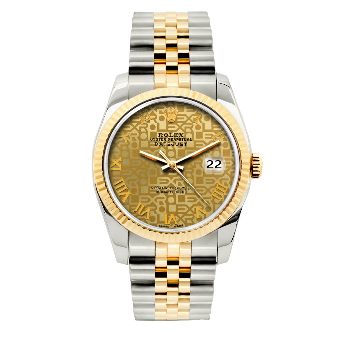 Rolex Datejust 36mm Yellow Gold and Stainless Steel Bracelet Yellow Gold Dial