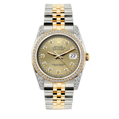 Rolex Datejust Diamond Watch, 36mm, Yellow Gold and Stainless Steel Bracelet Gold Dial w/ Diamond Bezel and Lugs