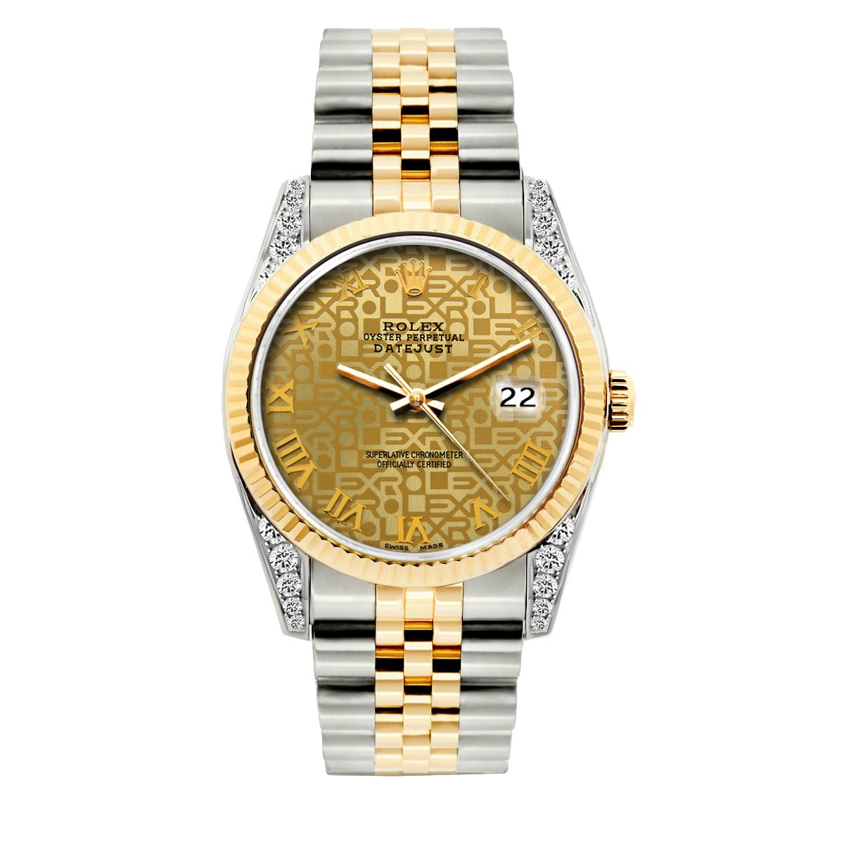 Rolex Datejust Diamond Watch, 36mm, Yellow Gold and Stainless Steel Bracelet Yellow Gold Dial w/ Diamond Lugs