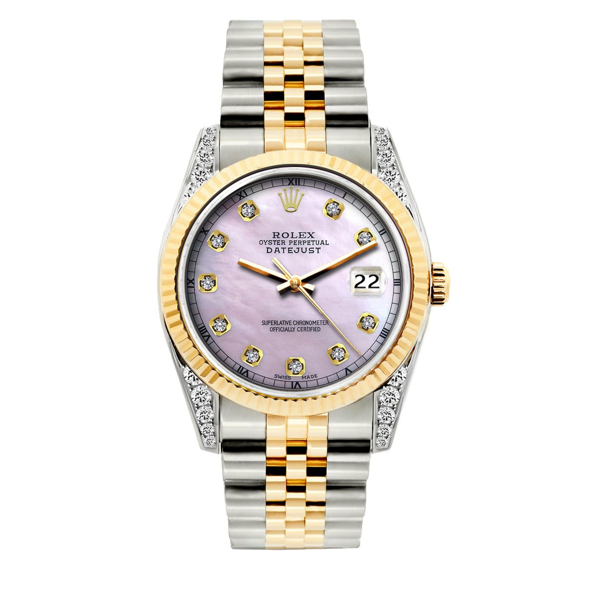 Rolex Datejust Diamond Watch, 36mm, Yellow Gold and Stainless Steel Bracelet Lavender Dial w/ Diamond Lugs