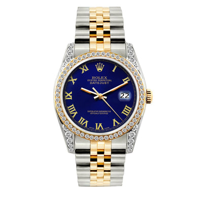 Rolex Datejust Diamond Watch, 36mm, Yellow Gold and Stainless Steel Bracelet Royal Blue Dial w/ Diamond Bezel and Lugs