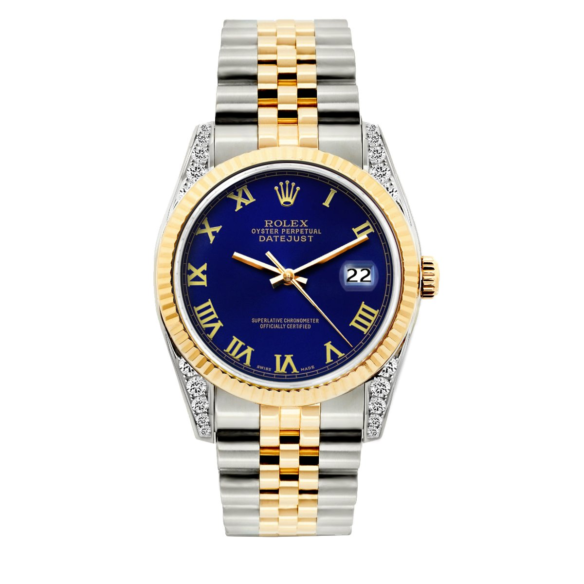 Rolex Datejust Diamond Watch, 36mm, Yellow Gold and Stainless Steel Bracelet Royal Blue Dial w/ Diamond Lugs