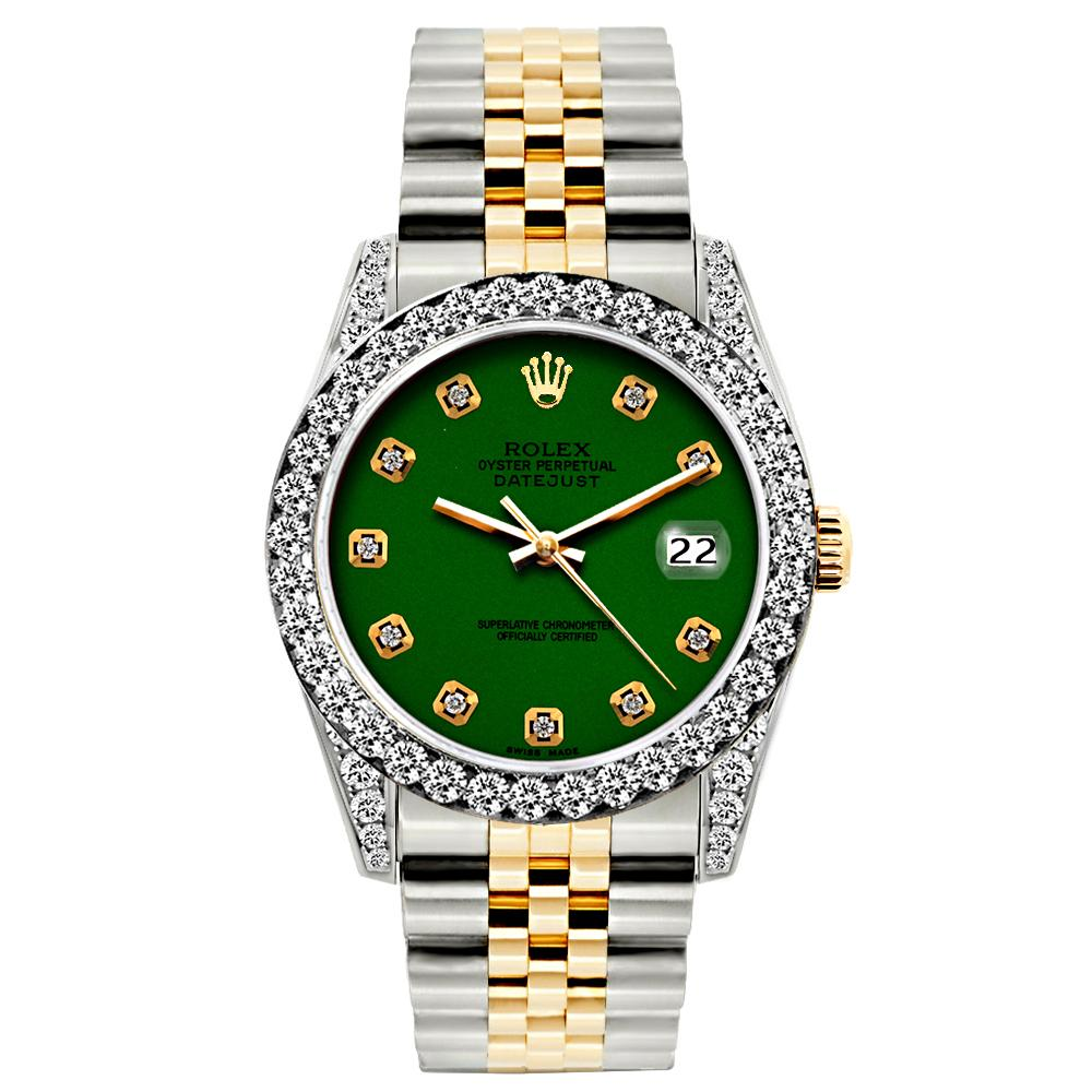 Rolex Datejust 26mm Yellow Gold and Stainless Steel Bracelet Eastern Green  Dial w/ Diamond Bezel and Lugs