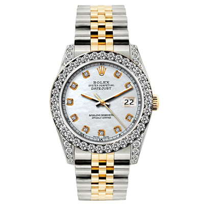 Rolex Datejust Diamond Watch, 26mm, Yellow Gold and Stainless Steel Bracelet Solitude Dial w/ Diamond Bezel and Lugs