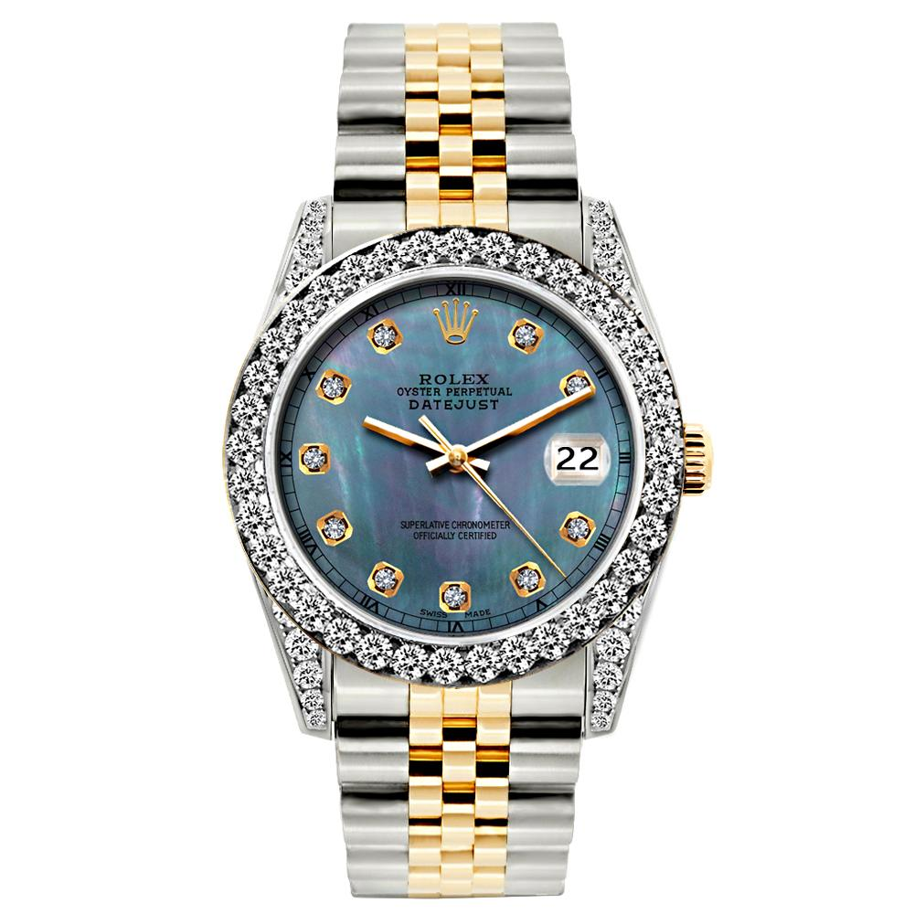 Rolex Datejust Diamond Watch, 26mm, Yellow Gold and Stainless Steel Bracelet Blue Mother of Pearl Dial w/ Diamond Bezel and Lugs