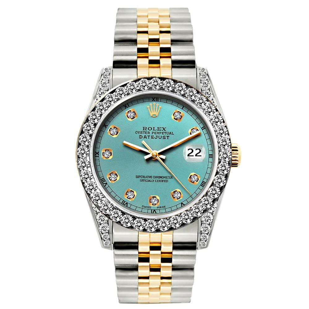 Rolex Datejust Diamond Watch, 26mm, Yellow Gold and Stainless Steel Bracelet Cadet Blue Dial w/ Diamond Bezel and Lugs