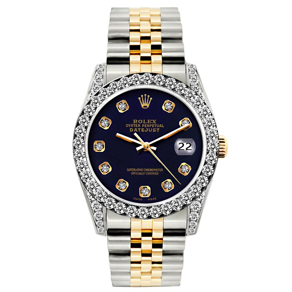 Rolex Datejust Diamond Watch, 26mm, Yellow Gold and Stainless Steel Bracelet Purple Dial w/ Diamond Bezel and Lugs