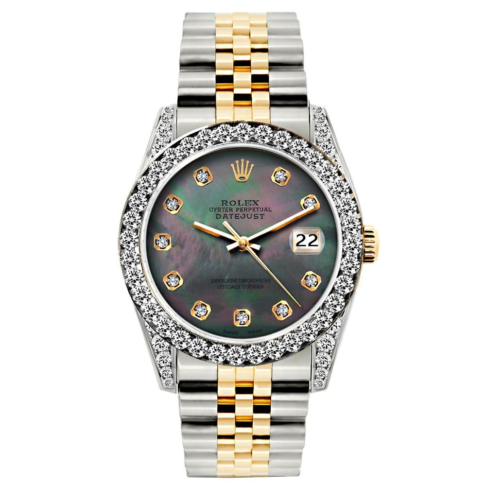 Rolex Datejust Diamond Watch, 26mm, Yellow Gold and Stainless Steel Bracelet Mother of Pearl Dial w/ Diamond Bezel and Lugs