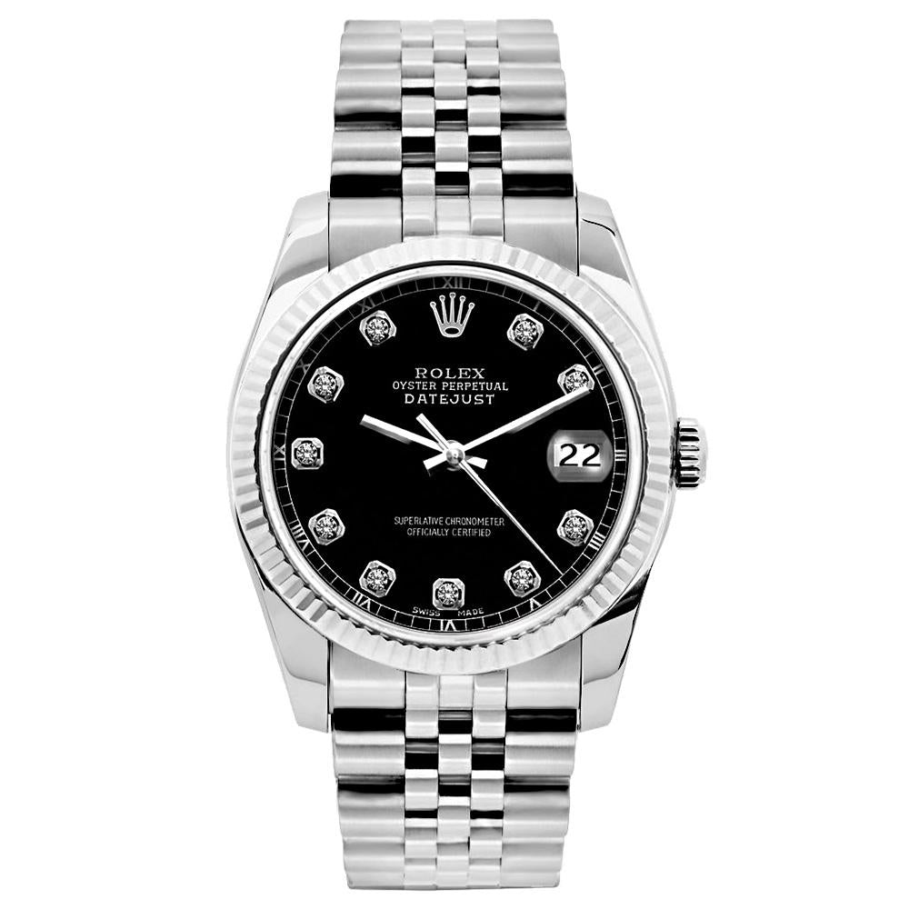 Rolex Datejust 26mm Stainless Steel Bracelet Black Roman Dial