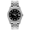 Rolex Datejust 26mm Stainless Steel Bracelet Black Roman Dial w/ Diamond Bezel and Lugs