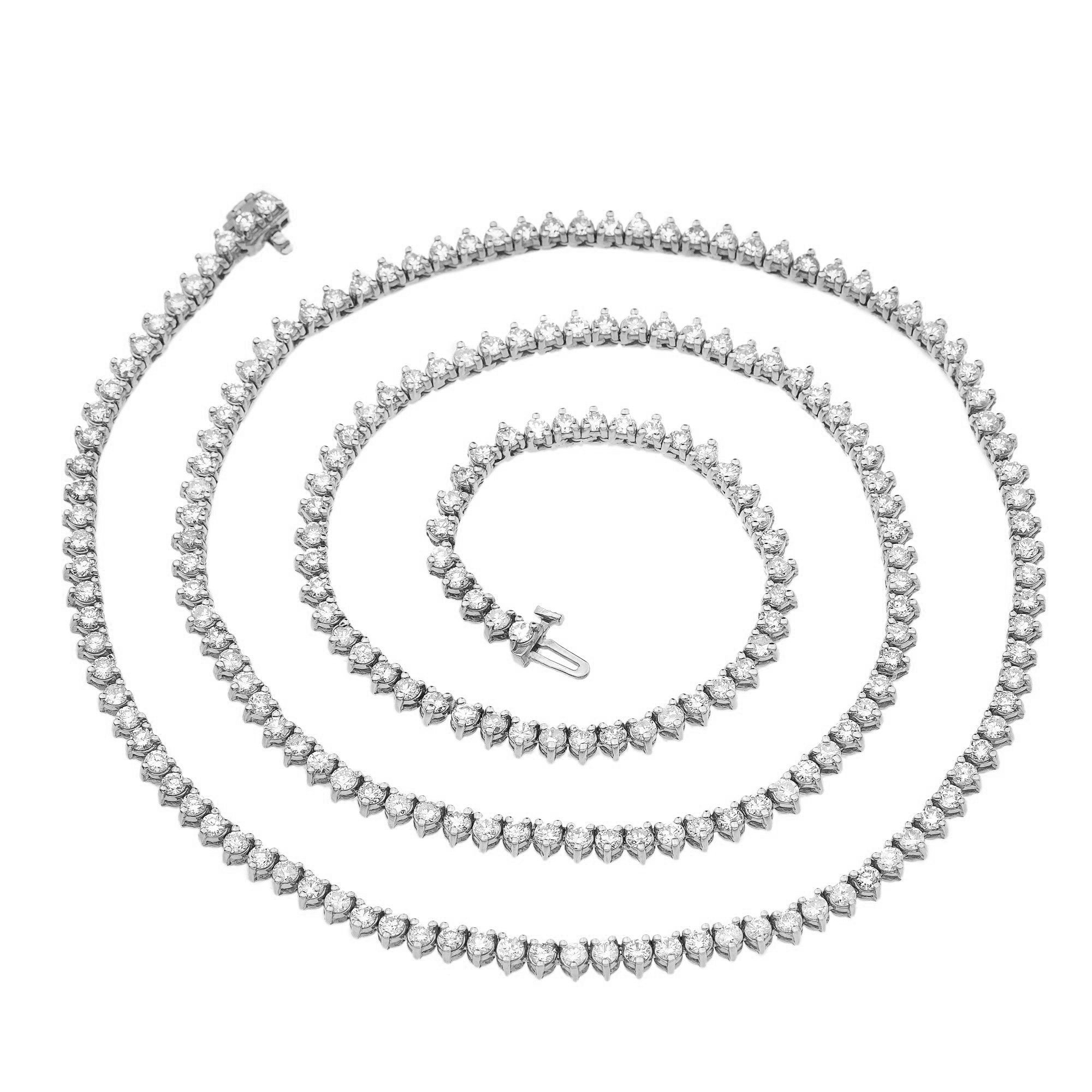 14K White Gold Unisex Tennis Chain with Diamonds