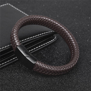 Unisex Simple Woven Leather Bracelet With Titanium Clamp