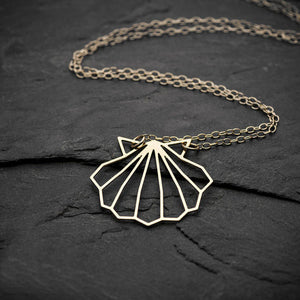 Origami Shell Pendant Necklace