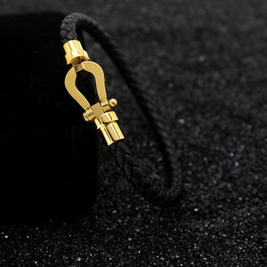 Braided Leather Buckle Rescue Bracelet